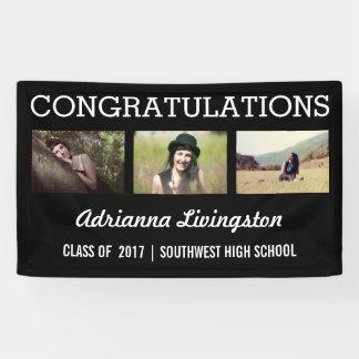 Banderoles Noir audacieux de photo des félicitations trois