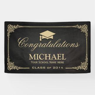 Banderoles Partie vintage de diplômé de cadre d'or noir