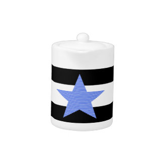Bandes - bleues et blanc - étoile bleue