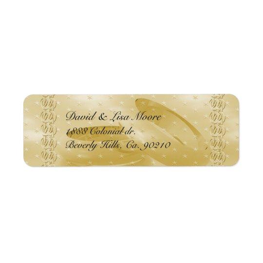Bandes d'or d'anniversaire d'ensemble d'amour étiquette d'adresse retour