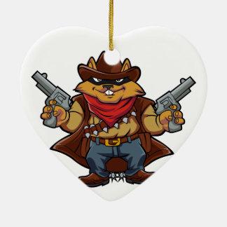 Bandit d'écureuil ornement cœur en céramique