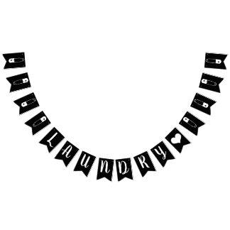 Bannière À Fanions Buanderie noire et blanche moderne de goupilles de