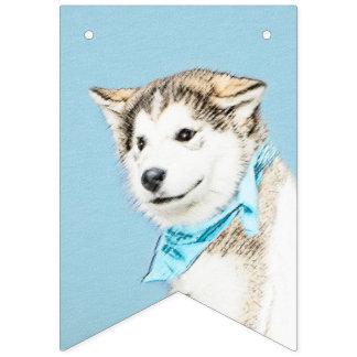 Bannière À Fanions Peinture de chiot de chien de traîneau sibérien -