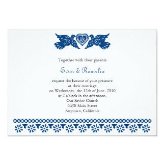 Bannière bleu-foncé de Papel Picado d'inséparables Carton D'invitation 12,7 Cm X 17,78 Cm