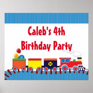 Bannière colorée de fête d'anniversaire de train affiches