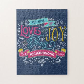 Bannière de coutume de paix de joie d'amour de puzzle