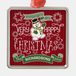 Bannière de coutume de typographie de Noël heureux Ornement Carré Argenté