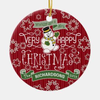 Bannière de coutume de typographie de Noël heureux Ornement Rond En Céramique