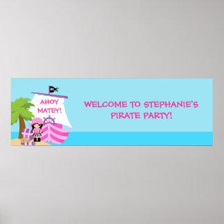 Bannière de fête d'anniversaire de fille de bateau posters