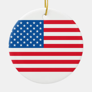 Bannière étoilée de drapeau des Etats-Unis Ornement Rond En Céramique
