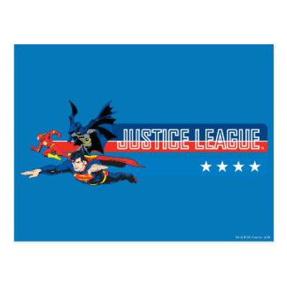 Bannière étoilée de ligue de justice carte postale