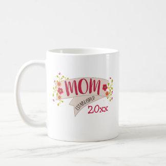Bannière florale établie par maman mug blanc