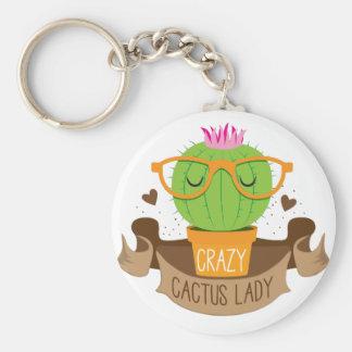 bannière folle de dame de cactus porte-clé rond
