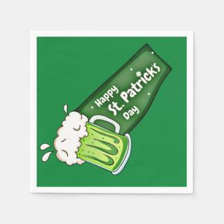 Bannière heureuse de bière de vert de Jour de la Serviette Jetable