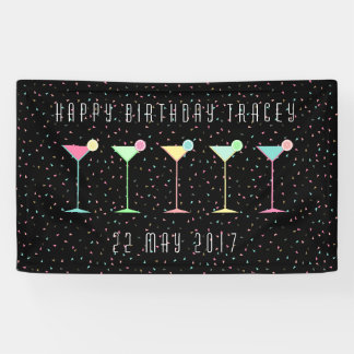 Bannière noire, cocktail, confettis colorés