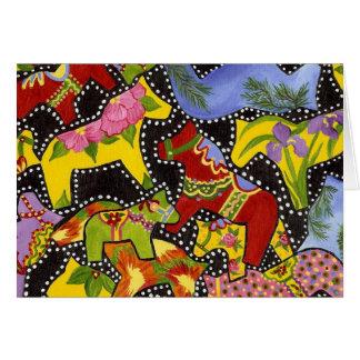 Banque de chevaux de Dala de danse à l'intérieur Carte De Vœux