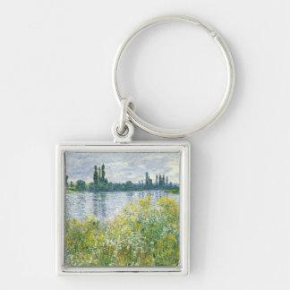 Banques de Claude Monet | de la Seine, Vetheuil, Porte-clé Carré Argenté