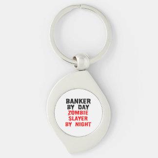 Banquier par le tueur de zombi de jour par nuit porte-clé swirl argenté