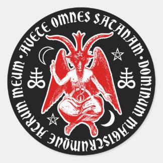 Baphomet avec les croix sataniques et les sticker rond