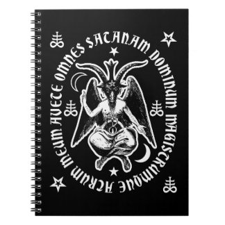 """Baphomet avec l'inscription latine """"de Satan de Carnets À Spirale"""