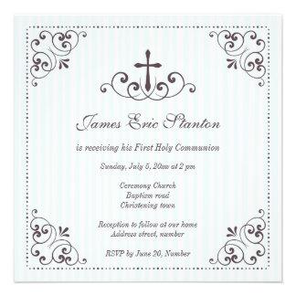 Baptême baptême d abord communion élégants de garç invitation personnalisée