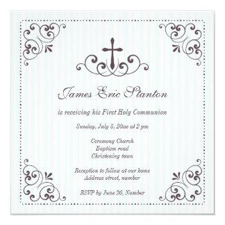 Baptême/baptême/d'abord communion élégants de carton d'invitation  13,33 cm