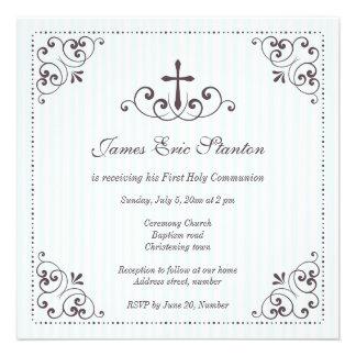 Baptême/baptême/d'abord communion élégants de garç invitation personnalisée