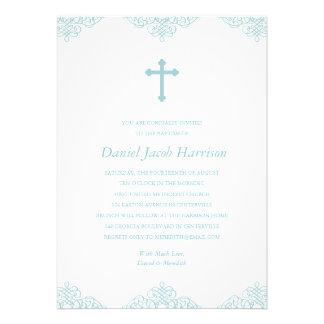 Baptême/baptême de garçons bleus carton d'invitation