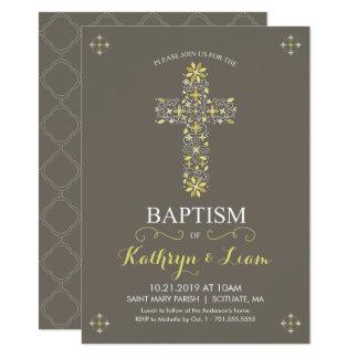 Baptême, baptême Invitatio, fille et ou garçon Carton D'invitation 11,43 Cm X 15,87 Cm