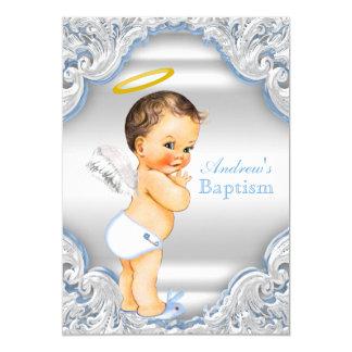 Baptême blanc bleu de bébé de garçon d'ange de carton d'invitation  12,7 cm x 17,78 cm