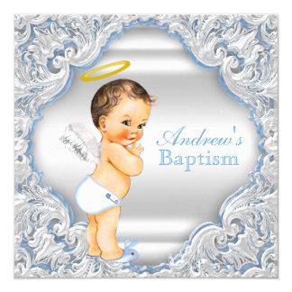 Baptême blanc bleu de bébé de garçon d'ange de carton d'invitation  13,33 cm