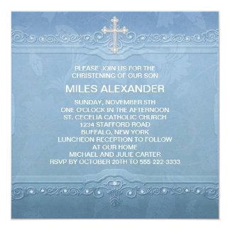 Baptême blanc bleu élégant de bébé carton d'invitation  13,33 cm