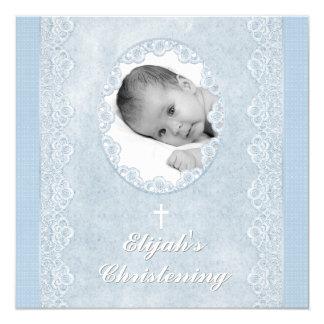 Baptême blanc de baptême de photo de garçon de faire-parts