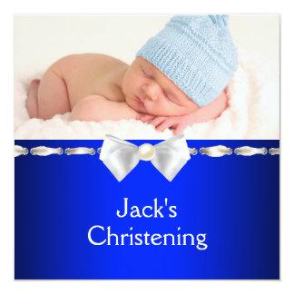 Baptême blanc de photo de bébé de bleu marine carton d'invitation  13,33 cm