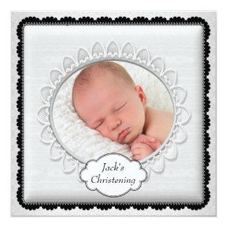 Baptême blanc noir de photo de garçons carton d'invitation  13,33 cm