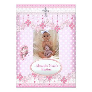 Baptême blanc rose 3 de croix de cadre de photo de cartons d'invitation