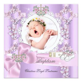 Baptême blanc rose lilas de photo de fille de carton d'invitation  13,33 cm
