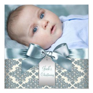 Baptême bleu beige de photo de bébé de damassé carton d'invitation