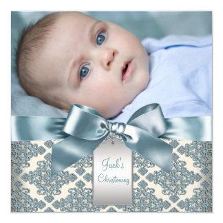 Baptême bleu beige de photo de bébé de damassé carton d'invitation  13,33 cm