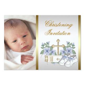 Baptême bleu blanc de photo de bébé d'or carton d'invitation  12,7 cm x 17,78 cm