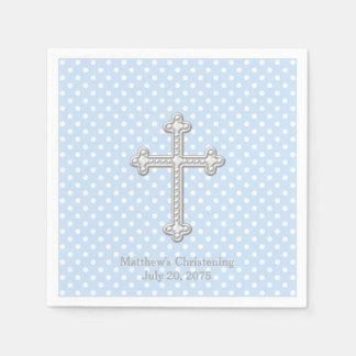 Baptême bleu croisé blanc serviettes jetables
