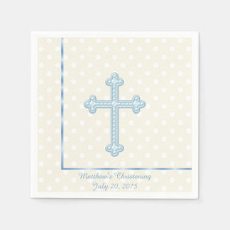 Baptême bleu croisé élégant serviette jetable