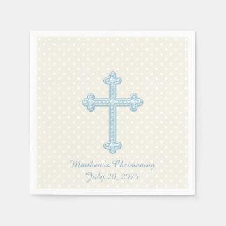 Baptême bleu croisé élégant serviettes jetables
