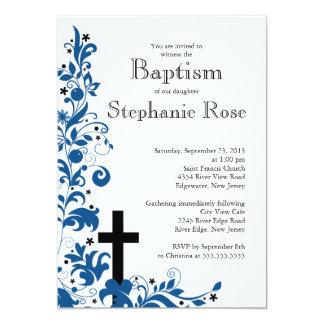 Baptême bleu croisé moderne de fleur, invitation