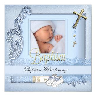 Baptême bleu de garçon de croix d'or de baptême carton d'invitation  13,33 cm