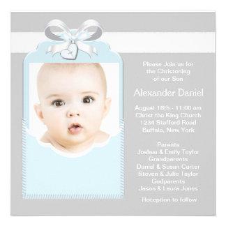 Baptême bleu et gris de photo de bébé
