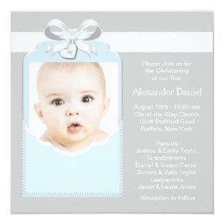 Baptême bleu et gris de photo de bébé carton d'invitation  13,33 cm