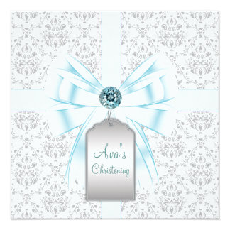 Baptême bleu turquoise blanc de baptême de bébé de carton d'invitation  13,33 cm