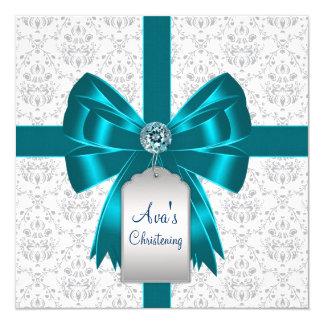 Baptême bleu turquoise blanc de bébé de damassé carton d'invitation  13,33 cm