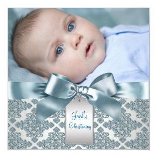Baptême bleu turquoise de photo de bébé de damassé invitations personnalisées